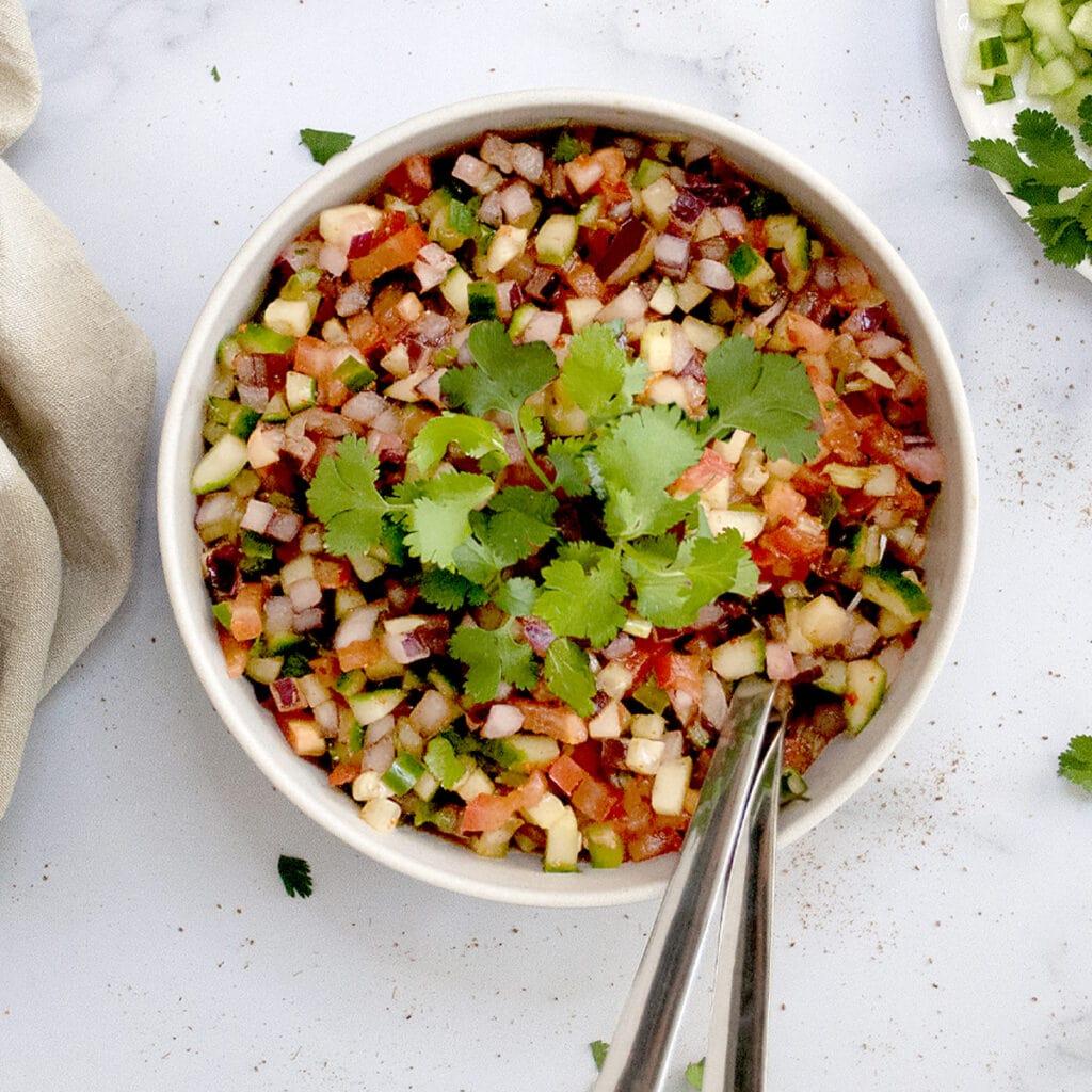 Kachumber Indian cucumber onion tomato salad