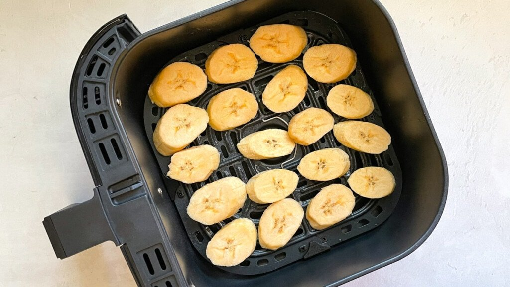 Plantains ready to cook in the air fryer