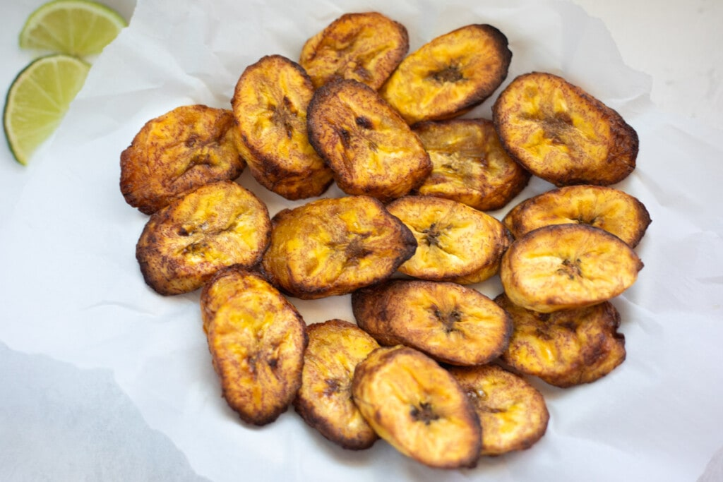 Air Fried Plantains served along with limes
