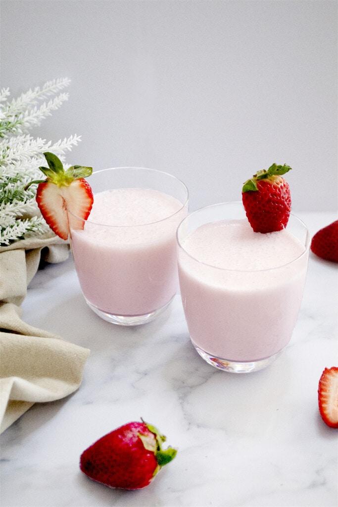 Strawberry lassi in a glass