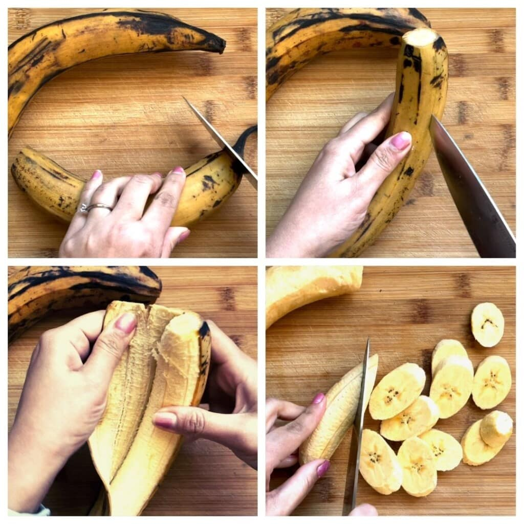 How to peel and cut a plantain steps