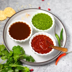3 popular Indian sauces for dipping or chaat in small bowls in a white plate
