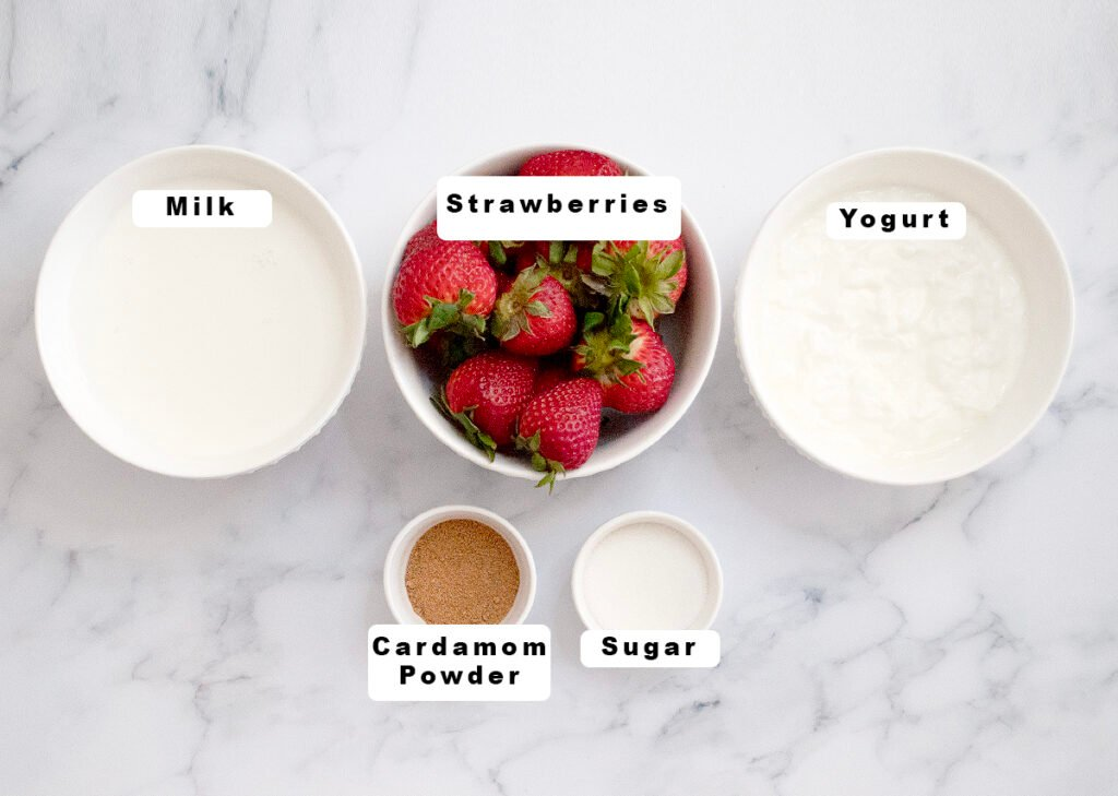 Ingredients for strawberry lassi