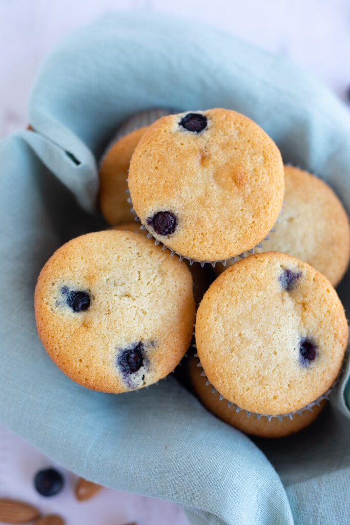 Almond flour blueberry muffins in a cloth