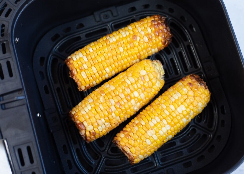 Corn on the Cobb in the air fryer basket
