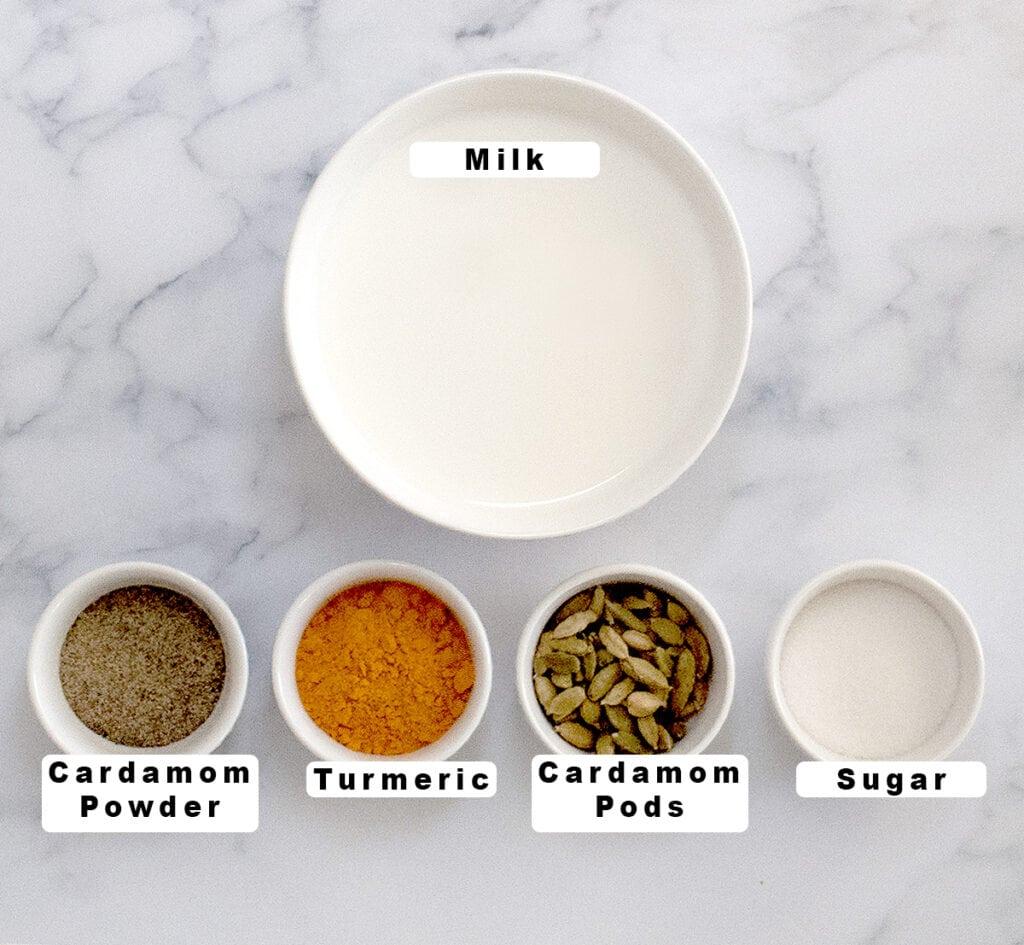 Ingredients for haldi doodh