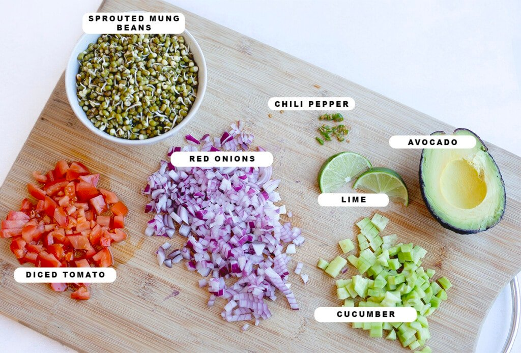 Ingredients you'll need for moong spouts salad