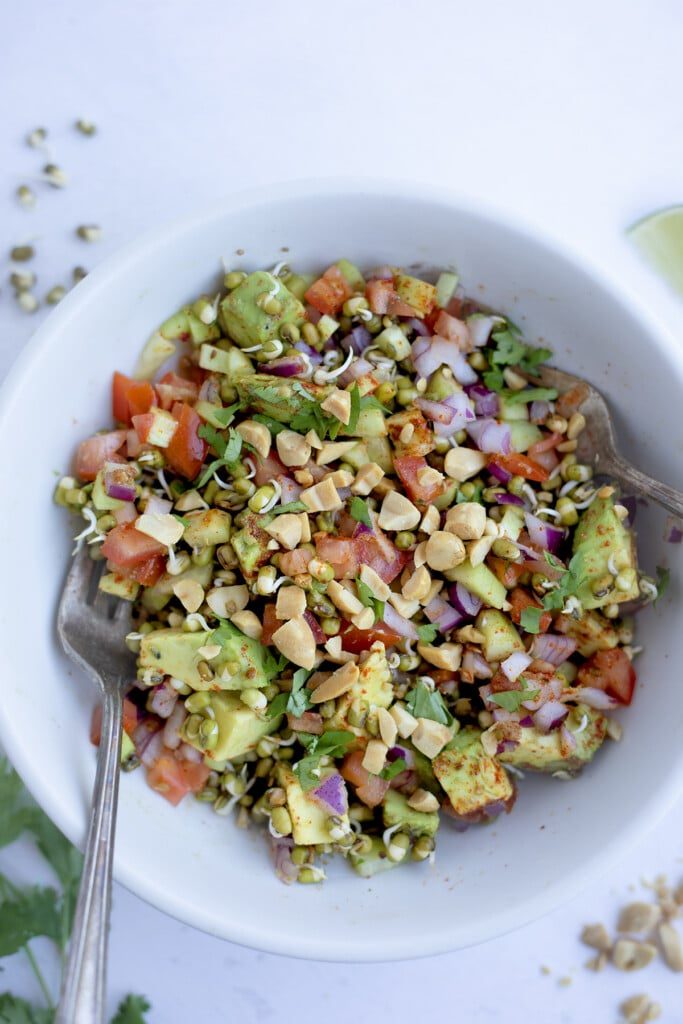 Easy sprouted mung bean salad