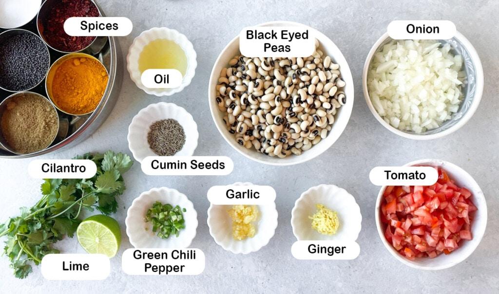 Ingredients to make black eyed peas curry