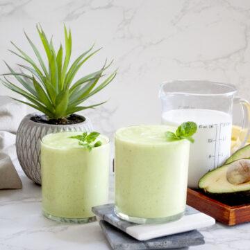 Creamy avocado banana smoothie