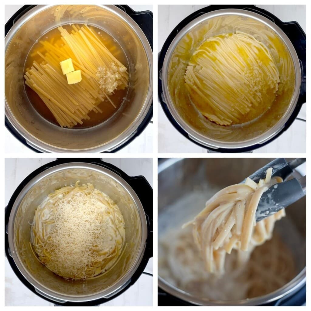 Step by step recipe for instant pot fettuccini Alfredo