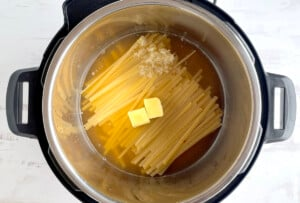 Pasta Ingredients - fettuccine, butter , garlic and broth in the instant pot