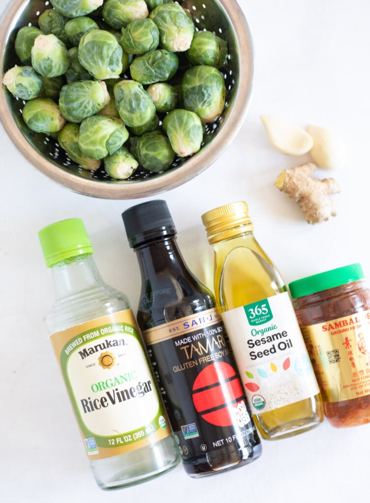 ingredients to make Chinese style Brussels sprouts