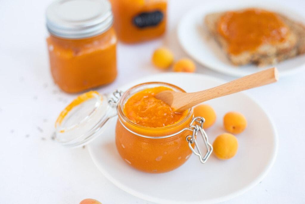 apricot jam in a glass jar