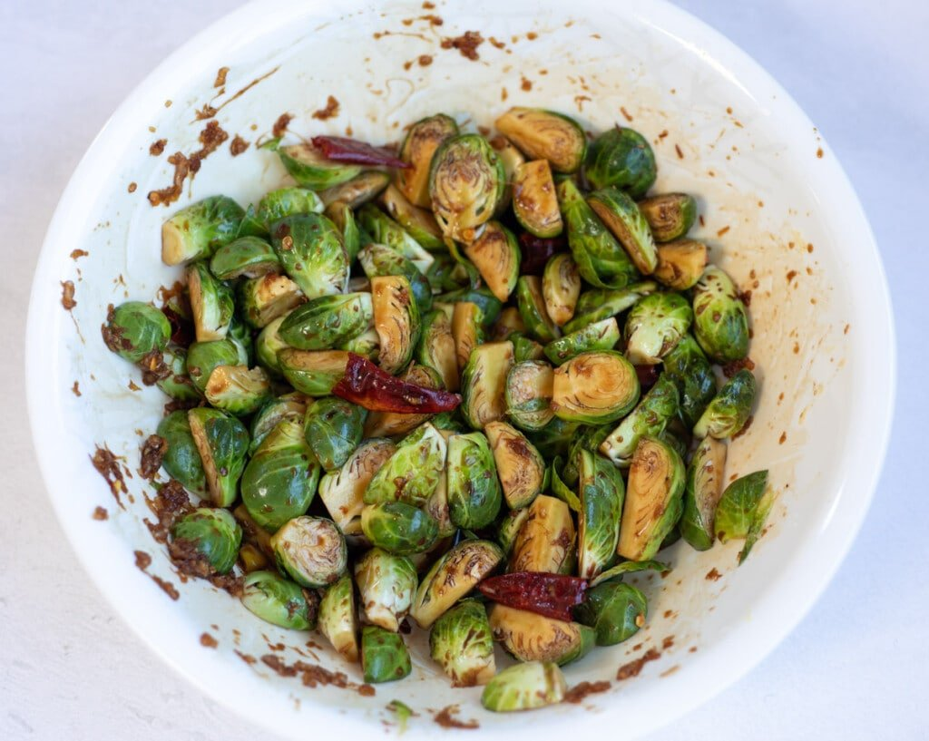 Brussels sprouts mixed in kung pao sauce
