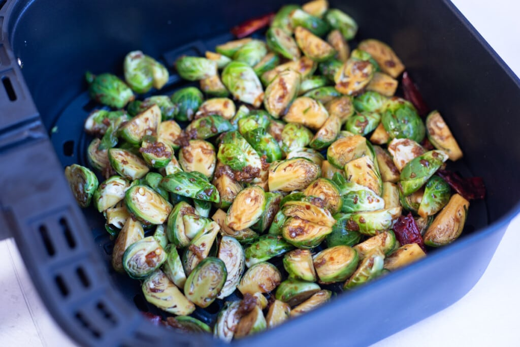 Asian Brussels sprouts in the air fryer