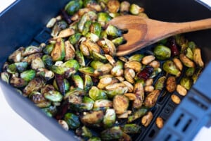 Cooked kung pao Brussels sprouts in air fryer