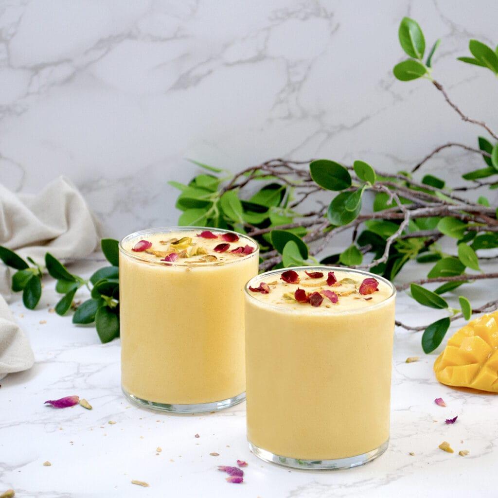 Mango milkshake with milk
