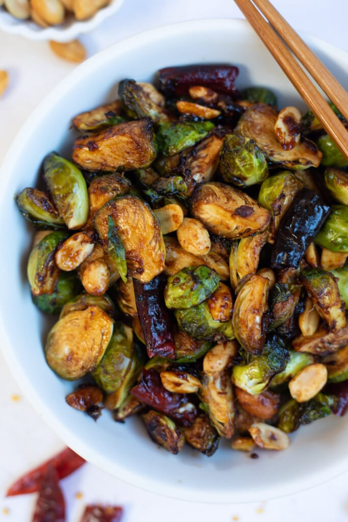 Kung pao roasted air fryer Brussels sprouts