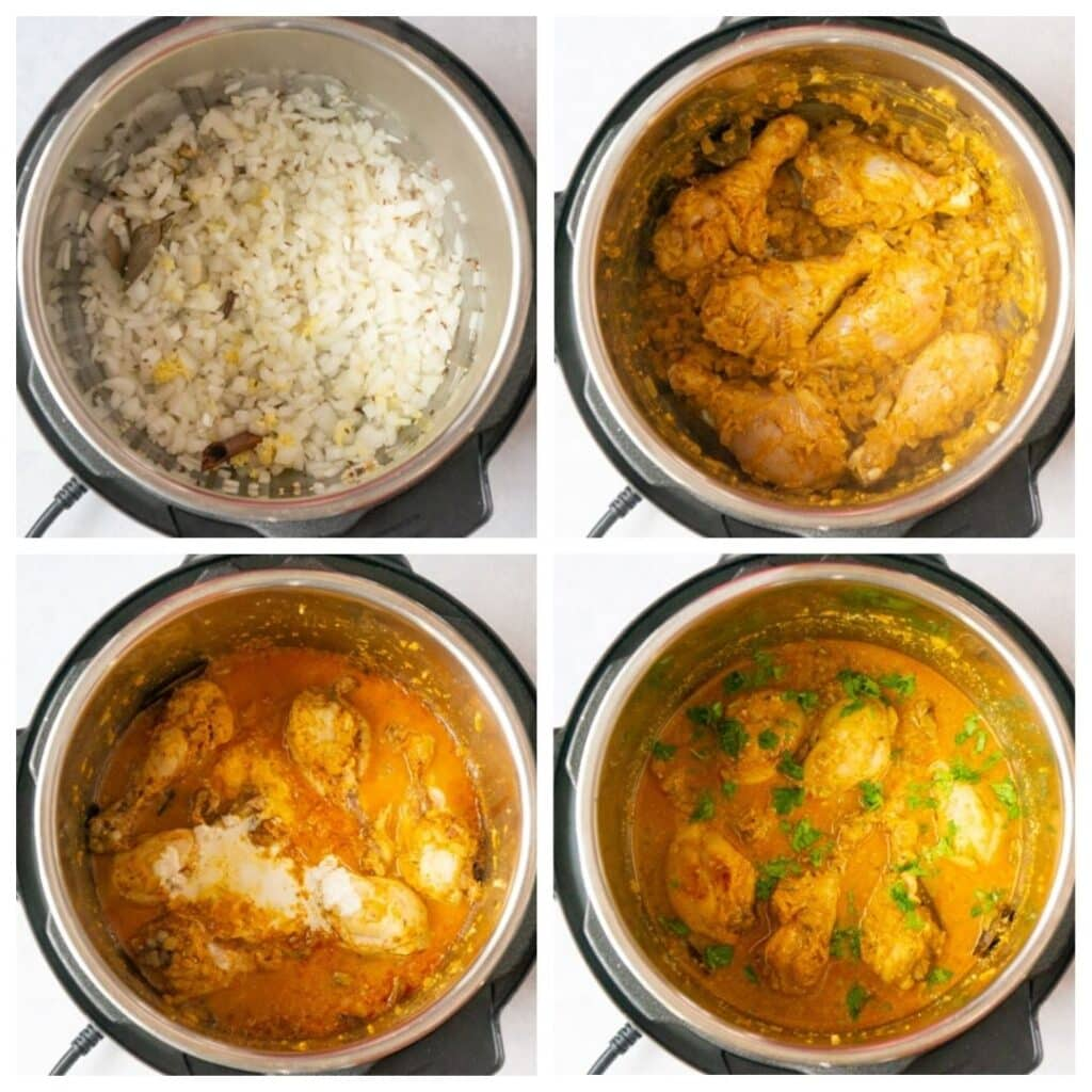 steps to cook chicken korma in the instant pot