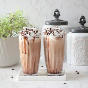 Cold coffee in a tall glass