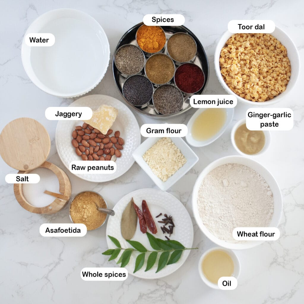 Ingredients you'll need for dal dhokli