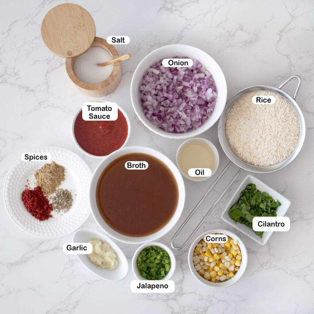 Ingredients you'll need for spanish rice