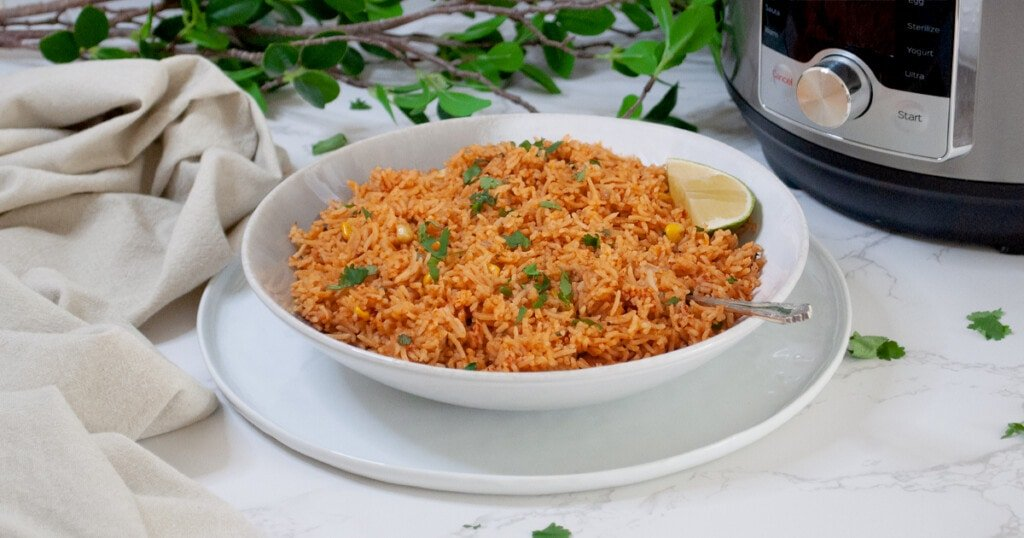 mexican tomato rice in front of the instant pot