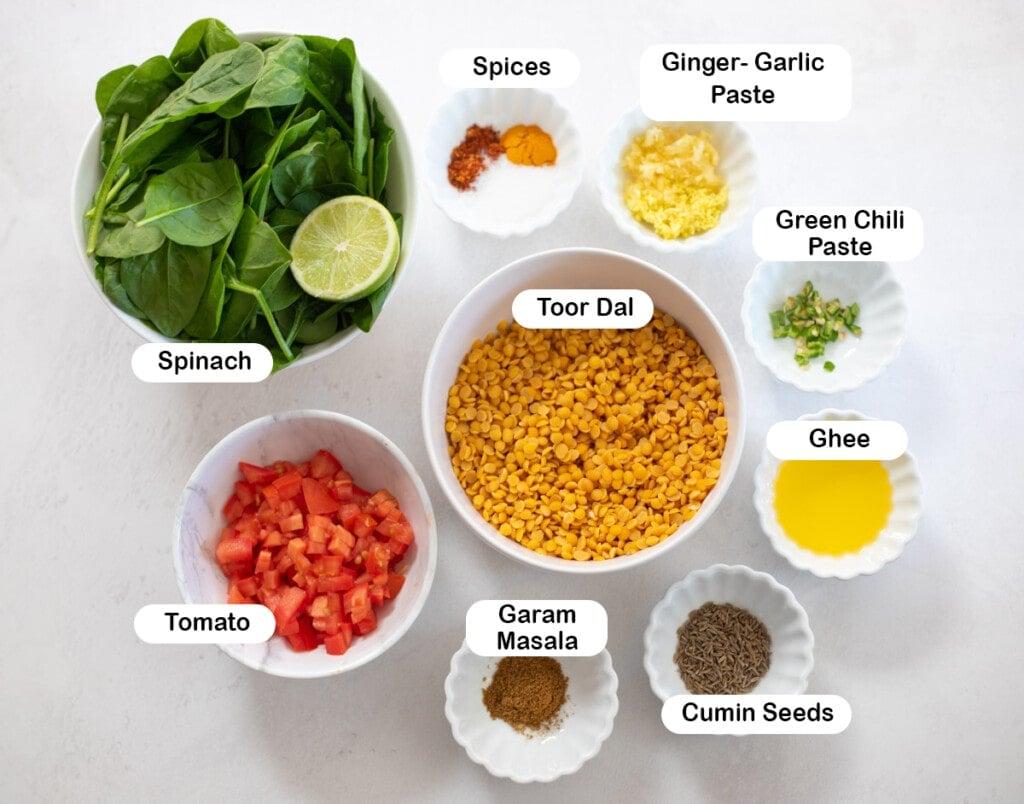 ingredients for Dal Palak