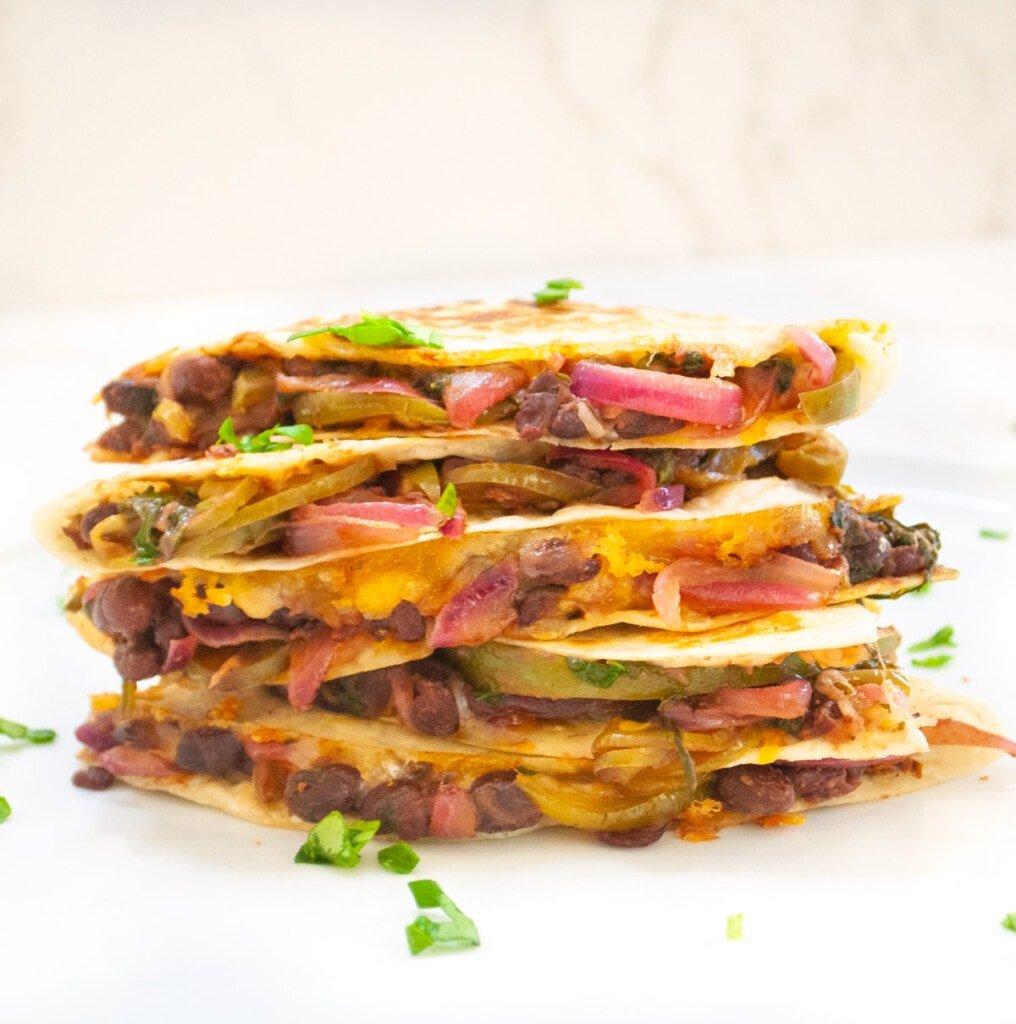 healthy quesadilla garnished with cilantro