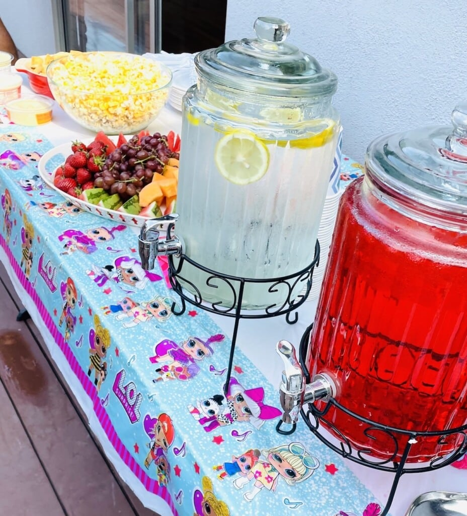 drinks such as roohafza and lemonade at indian birthday party